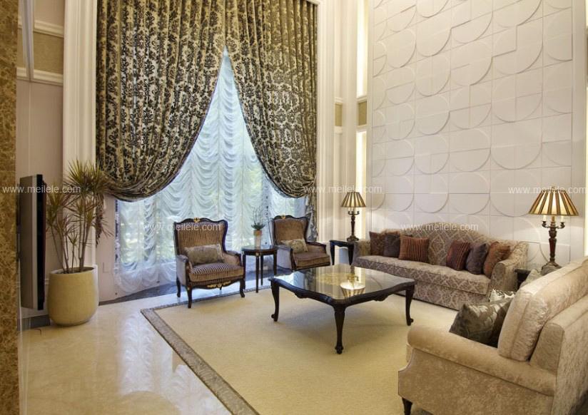 客厅窗帘装修效果图:在这套美式风格客厅装修效果图里,其设